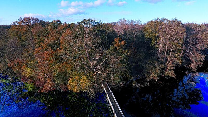 Die Brück mit dem Hasensee im Herbst aus der Vogelperspektive