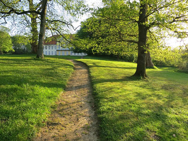 Der frühlingshafte Weg im Park lädt zum Spazieren ein