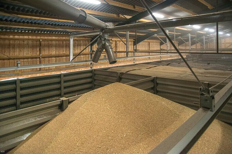 Ein mit Getreide gefülltes Silo in einer Lagerhalle