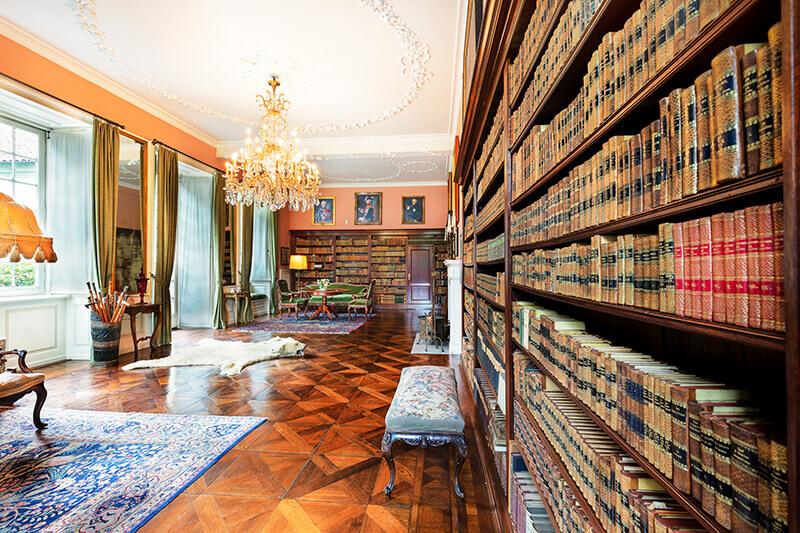 Blick vom Bücherregal in den Saal