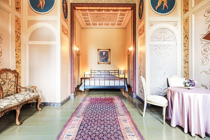 Blick auf das Bett im Rittmeisterzimmer